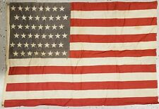ANTIQUE 48 STAR AMERICAN FLAG STAGGERED OFFSET PATTERN 1896-1918 CHICAGO WW1 ERA