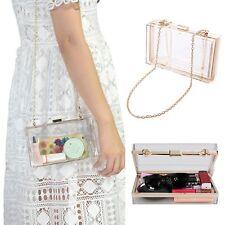 Women Ladies Acrylic Clear Transparent Evening Clutches Shoulder Bag Handbag b19751a99700