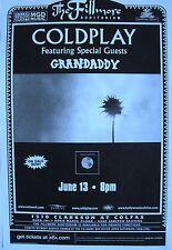 "COLDPLAY ""PARACHUTES TOUR"" 2001 DENVER CONCERT POSTER- U.K. Alternative Music"
