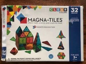 Magna-Tiles Valtech 32-Piece Clear Colors Magnetic Building