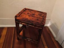 Vintage Square Bamboo Stool Small Table or Display Stand