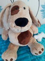 "Debenhams puppy dog with bone soft hug toy comforter approx 17"""