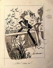 AG Badert Illustration originale Pin-up pour Ici Paris
