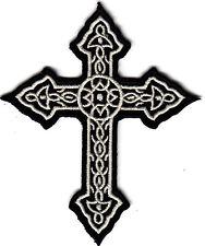 CROSS, ORNATE BLACK & WHITE -IRON ON PATCH/Bikers,Retro,Goth,Boho,Punk, Symbols