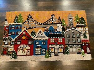 """Pottery Barn CHRISTMAS IN THE CITY Doormat 22"""" x 36"""" HOLIDAY Outdoor Coir Mat"""