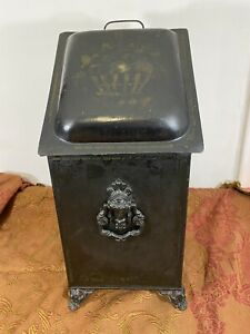 "Antique Victorian Heavy Weight Stencil Metal Ash Bucket Coal Scuttle W/ Lid 23""H"