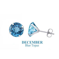 Solid 10K White Gold Blue Topaz Birthstone Solitaire Earrings Studs 5mm