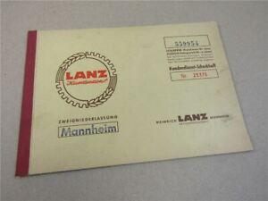Lanz Kundendienstscheckheft 1958 Wartungsheft
