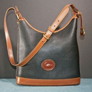 Vintage Dooney & Bourke D&B Pebbled AWL Black and British Tan Hobo Shoulder Hand