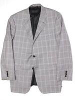 Hickey Freeman Mens Sport Coat 44R Gray Mini Check Windowpane Plaid Wool Jacket