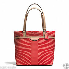 Paypal Coach Bag F23283 SIGNATURE STRIPE ZEBRA PRINT TOTE HOT ORANGE
