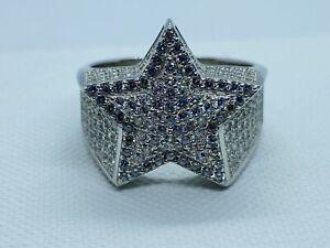 Solid Genuine 925 Sterling Silver Star Design CZ Men's Pinky Ring