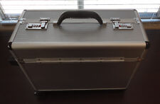 Aluminum Metal Mobile Travel Wheels Rolling Lock Attache Carry Brief Case!