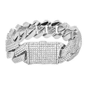 Iced Cuban Link Out Prong Bracelet VVS Diamond 19mm 18K White Gold Plated Rapper