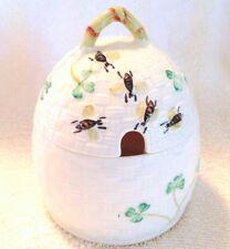 Belleek Shamrock Honey Pot Basket Weave
