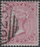 1855 SG62 4d CARMINE WMK SMALL GARTER FINE/VERY FINE USED PORTSMOUTH 625 CANCEL