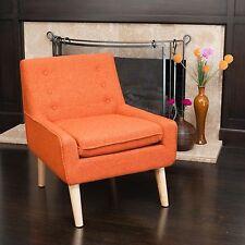 Retro Orange Fabric Accent Chair w/ Button Tufted Backrest