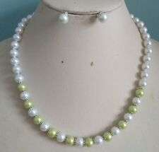 8MM White/Green  South Sea Shell Pearl necklace +earrings set AAA Grade   06