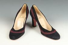 Christian Louboutin Black Suede Rounded Toe Pumps With Aubergine Spa. Lot 416A