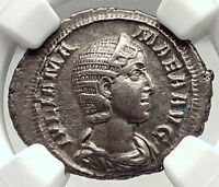 JULIA MAMAEA Authentic Ancient 222AD Rome Silver Roman Coin FELICITAS NGC i72942