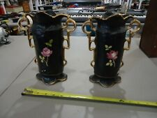 LOT OF 2 ANTIQUE RARE WELLER ETNA HANDLE VASE VASES NO. 4 MADE IN ENGLAND ROSES