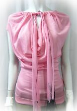 NEW NINA RICCI TOP BLOUSE PINK FRONT TIE CASHMERE SILK COWL NECK MEDIUM