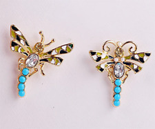 NEW Dragonfly Insect Crystal Green Enamel Turquoise Stone Pearl Stud Earrings