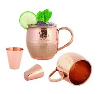 Moscow Mule Copper Mugs 16 oz. (Set of 2) With Bonus 2 Shot Glasses Foodie Aid