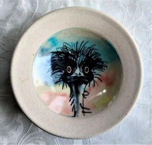 WENDY BINKS 'STUNNED EMU' HAND PAINTED POTTERY BOWL W.A. 16CM DIAMETER
