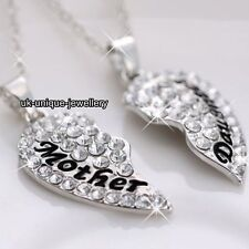 Silver Mother Daughter Necklaces Heart Crystal Xmas Gifts For Her Mum Girl Women
