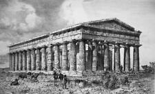 ITALY Great Temple at Paestum Tempio di Nettuno - 1888 Etching Print