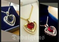 White gold finish sapphire ruby heart pendant and created diamond necklace