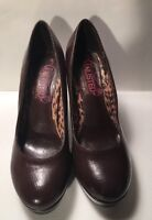 Kenneth Cole Unlisted shoes Brown Faux Leather thick sole Pump Size 8 M