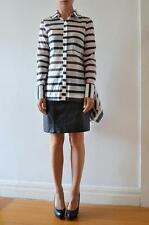 NICHOLAS THE LABEL Black White Striped Georgette Side Cascade Shirt 8 Petite