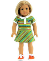 "Striped Dress with Tennis Shoes Fits American Girl Dolls 18"" Doll Clothes"