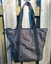 Bath & Body Works Black Gold Stripe Tote Bag Large Purse Cute Beach Bag Gym Bag