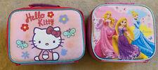 Girls Lunch Boxes 2 X Hello Kitty Princess Cinderella School Nursery Childminder