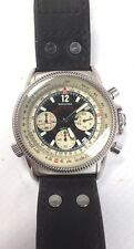 Gents SEKONDA Chronograph Black Leather Strap Wristwatch Spares/Repairs - F14