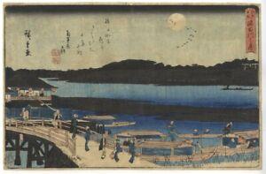 Hiroshige I Utagawa, Moon on the Sumida River, Original Japanese Woodblock Print