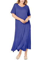 """NEW WOMAN WITHIN VIOLET SHORT SLEEVE CRINKLE MAXI DRESS SIZE 36 TO 38 LENGTH 49"""""""