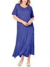 New Woman Within Violeta Manga Corta Arrugado Maxi Vestido Talla 32 a 34 P