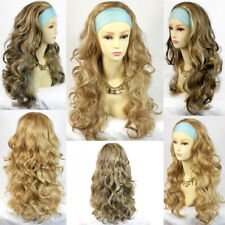 Wiwigs Curly Blonde Mix,Blonde Brown Mix 3/4 Fall  Long Wavy Half Wig hairpiece