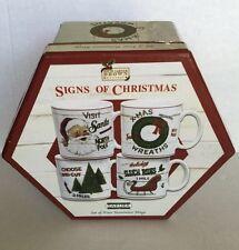 Sakura Signs of Christmas David Carter Brown Collection Stoneware Mugs Set 4