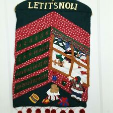 Christmas Advent Calendar Countdown Applique Hanging Snowman Window Green Pocket