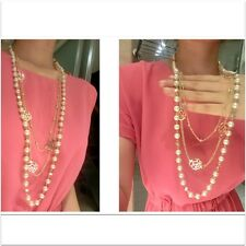 Gold Plated Hollow Out Rose Flower Pearl  Chain Double Layer Long Necklace