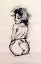 "Julian Ritter - Nude Lady - Charcoal on Vellum 19"" x 24""- Signed - 350"