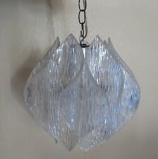 "VINTAGE MID-CENTURY ACRYLIC(?) CRACKLE-LOOK CEILING HANGING LIGHT FIXTURE (12"")"