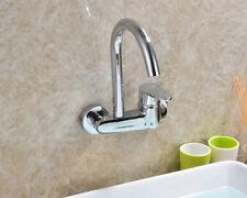 Chrome Single Handle 2 Hole Wall Mount Kitchen Faucet Brass Basin Sink Mixer Tap