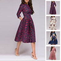 Women Floral Print Long Sleeve Swing Dress High Waist A-line Skater Pleated Gown