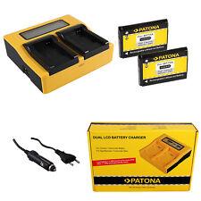 2x Batteria Patona + caricabatteria rapido DUAL LCD per Samsung ST68,ST70,ST700